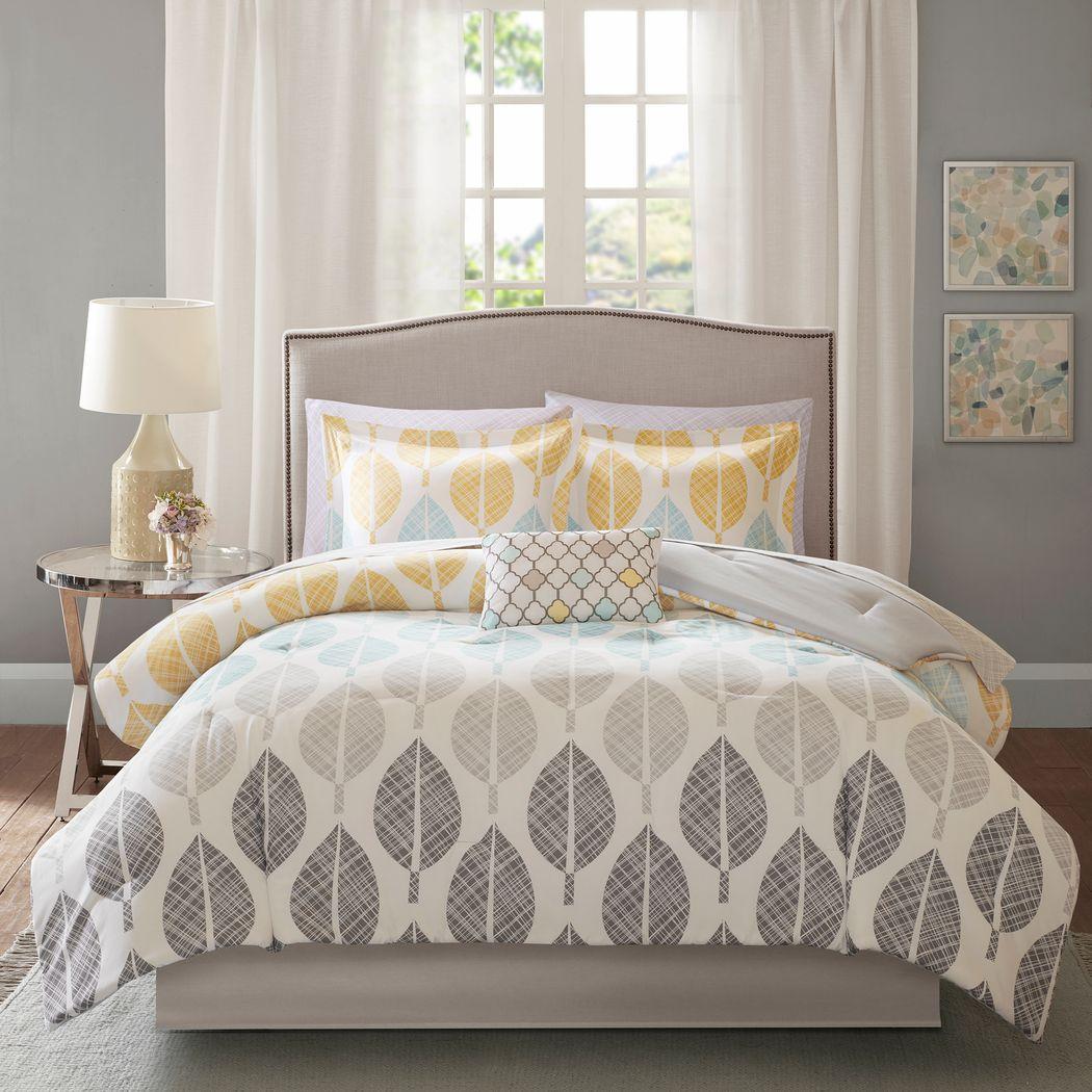 Sansa Yellow 9 Pc Queen Comforter Set