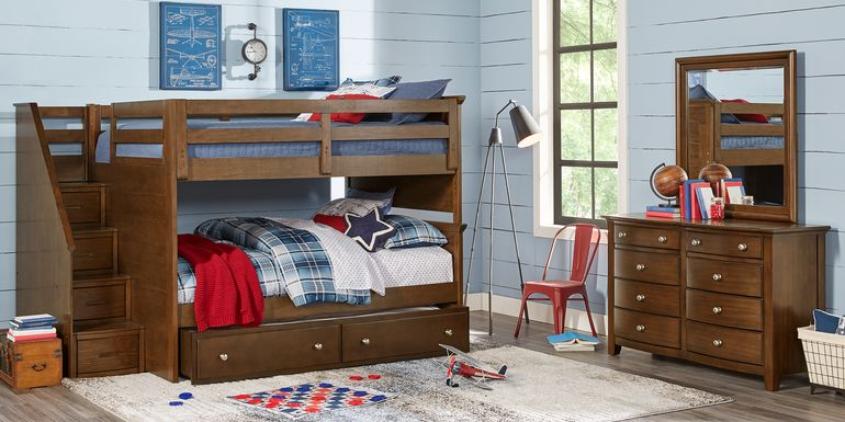 Santa Cruz Brown Cherry Full/Full Step Bunk Bed