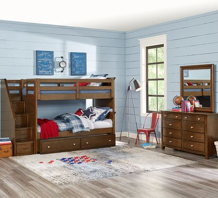 Santa Cruz Brown Cherry Twin/Twin Step Bunk Bed