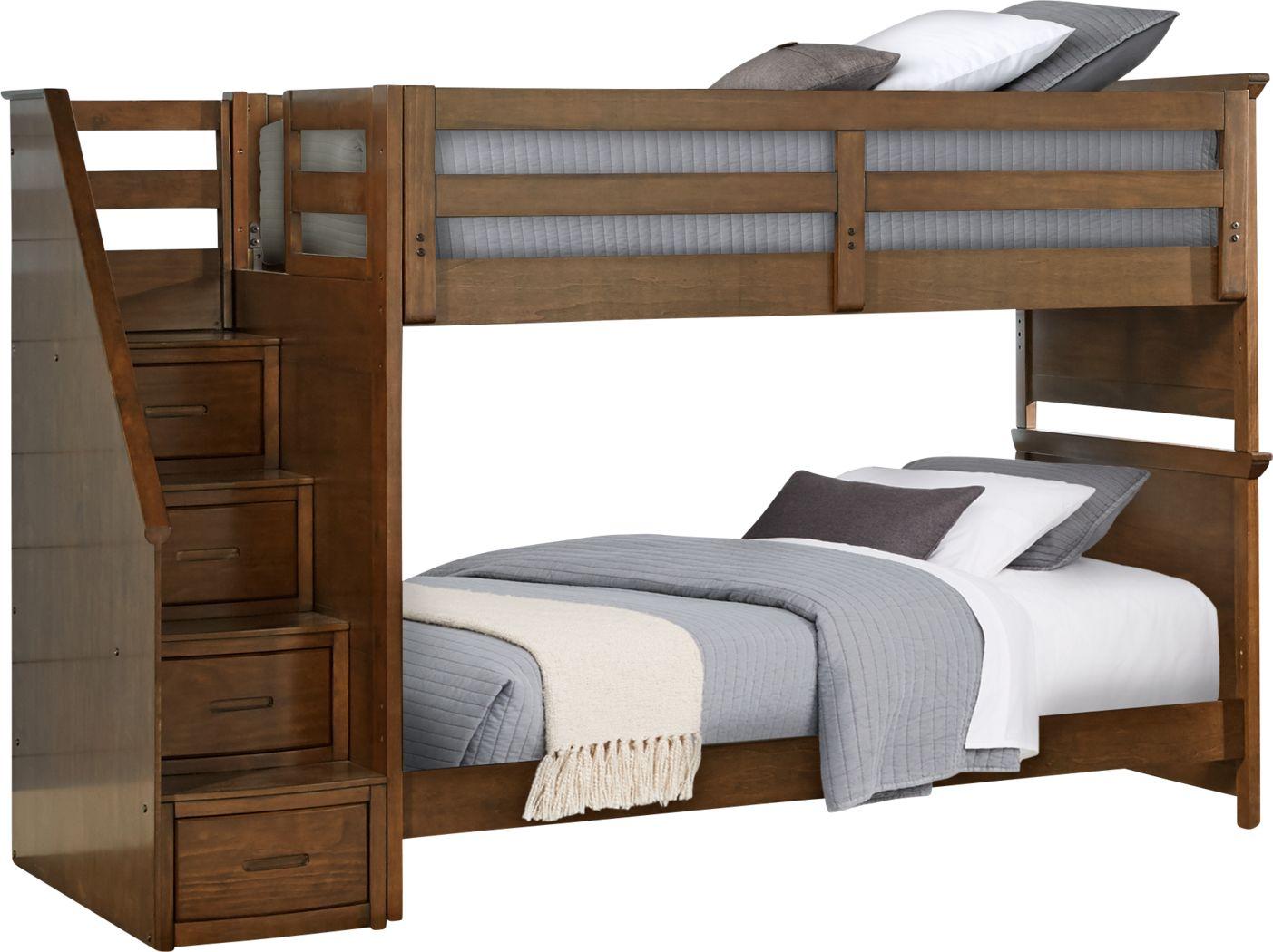 Santa Cruz Brown Cherry Twin/Twin Step Bunk Bed