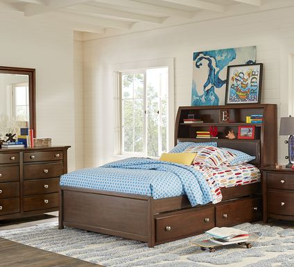 Kids Santa Cruz Cherry 5 Pc Full Bookcase Bedroom