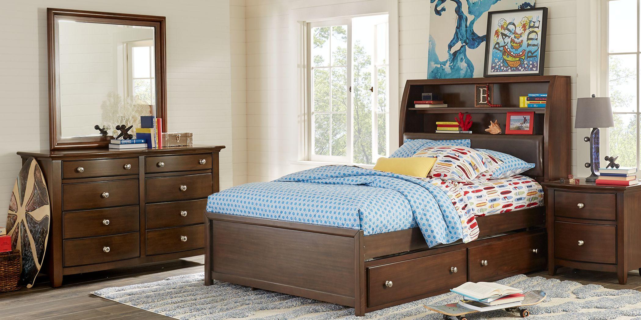 Kids Santa Cruz Cherry 5 Pc Twin Bookcase Bedroom