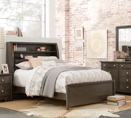 Kids Santa Cruz Gray 5 Pc Full Bookcase Bedroom