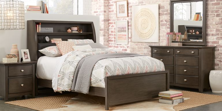 Santa Cruz Gray 5 Pc Twin Bookcase Bedroom Complemented by Taupe & Peach Accents