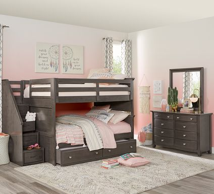 Santa Cruz Gray Full/Full Step Bunk Bed