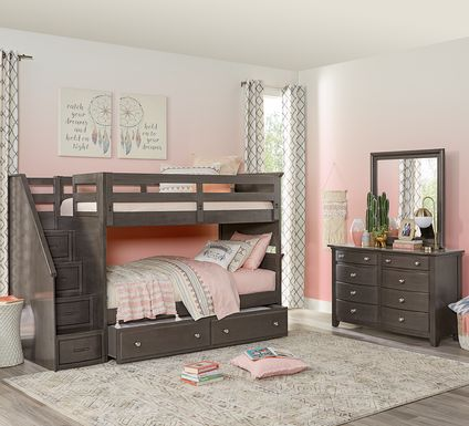 Santa Cruz Gray Twin/Twin Step Bunk Bed