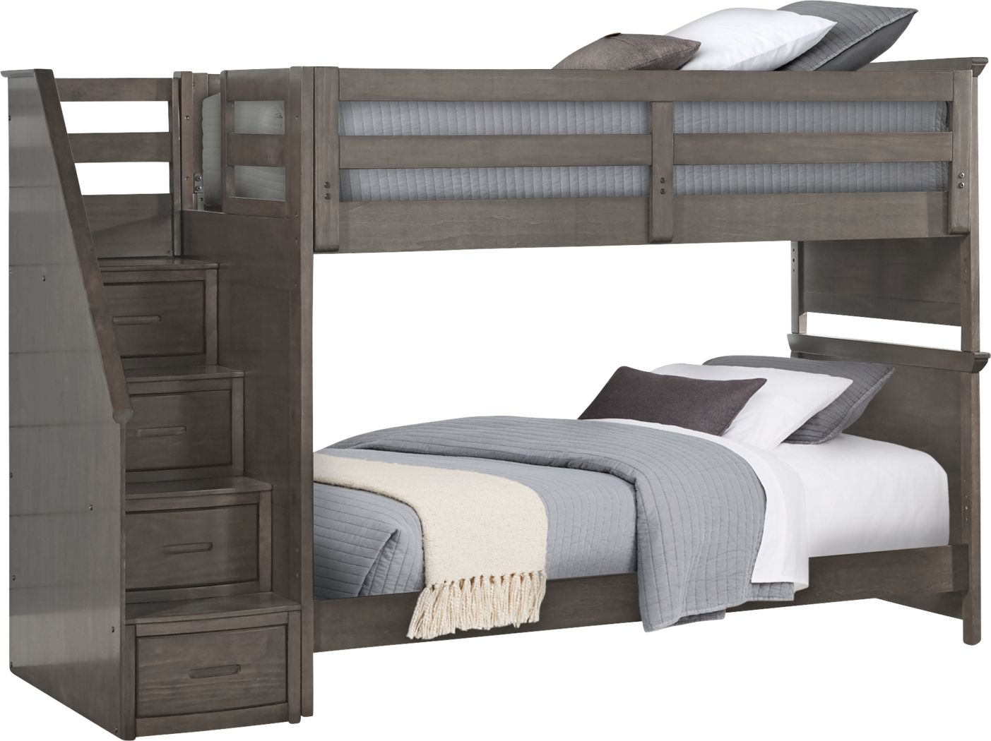 Santa Cruz Gray Twin/Twin Step Bunk Bed