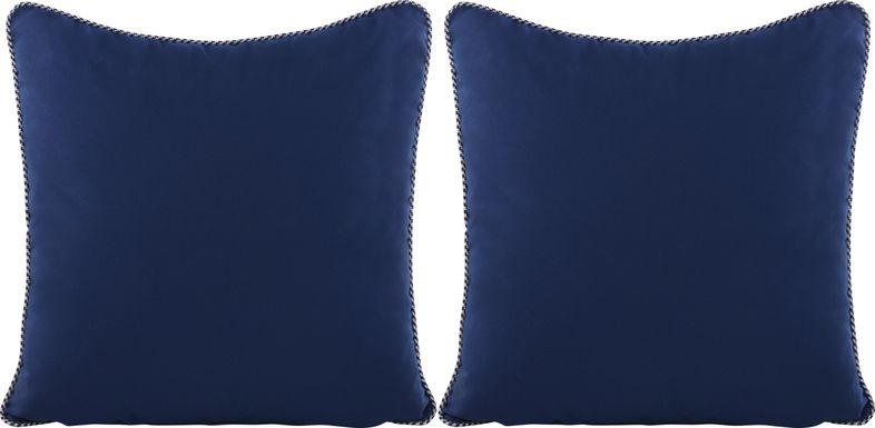 Azul Solid Navy Indoor/Outdoor Accent Pillow, Set of Two