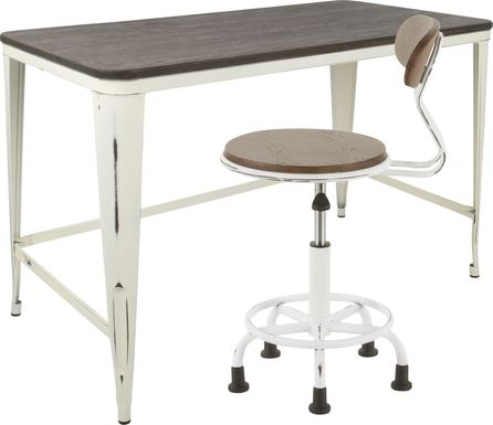 Sawmill White Desk and Chair