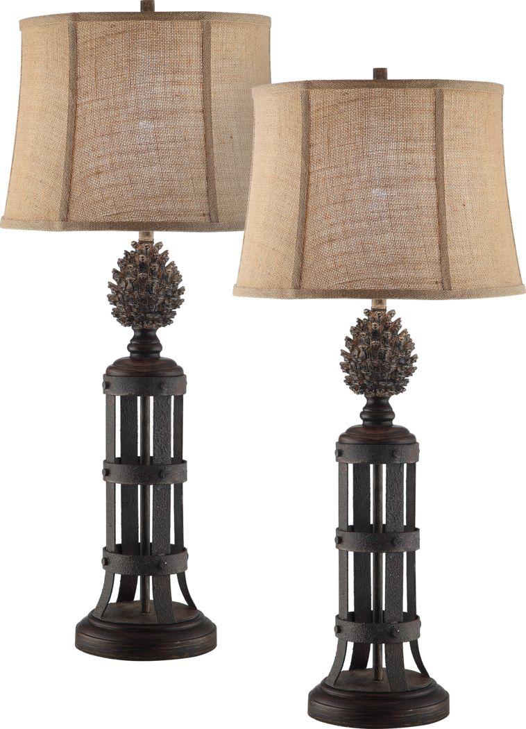 Scots Pine Brown Lamp, Set of 2