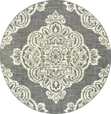 Scottlyn Granite 7'10 Round Indoor/Outdoor Rug