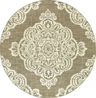 Scottlyn Tan 7'10 Round Indoor/Outdoor Rug