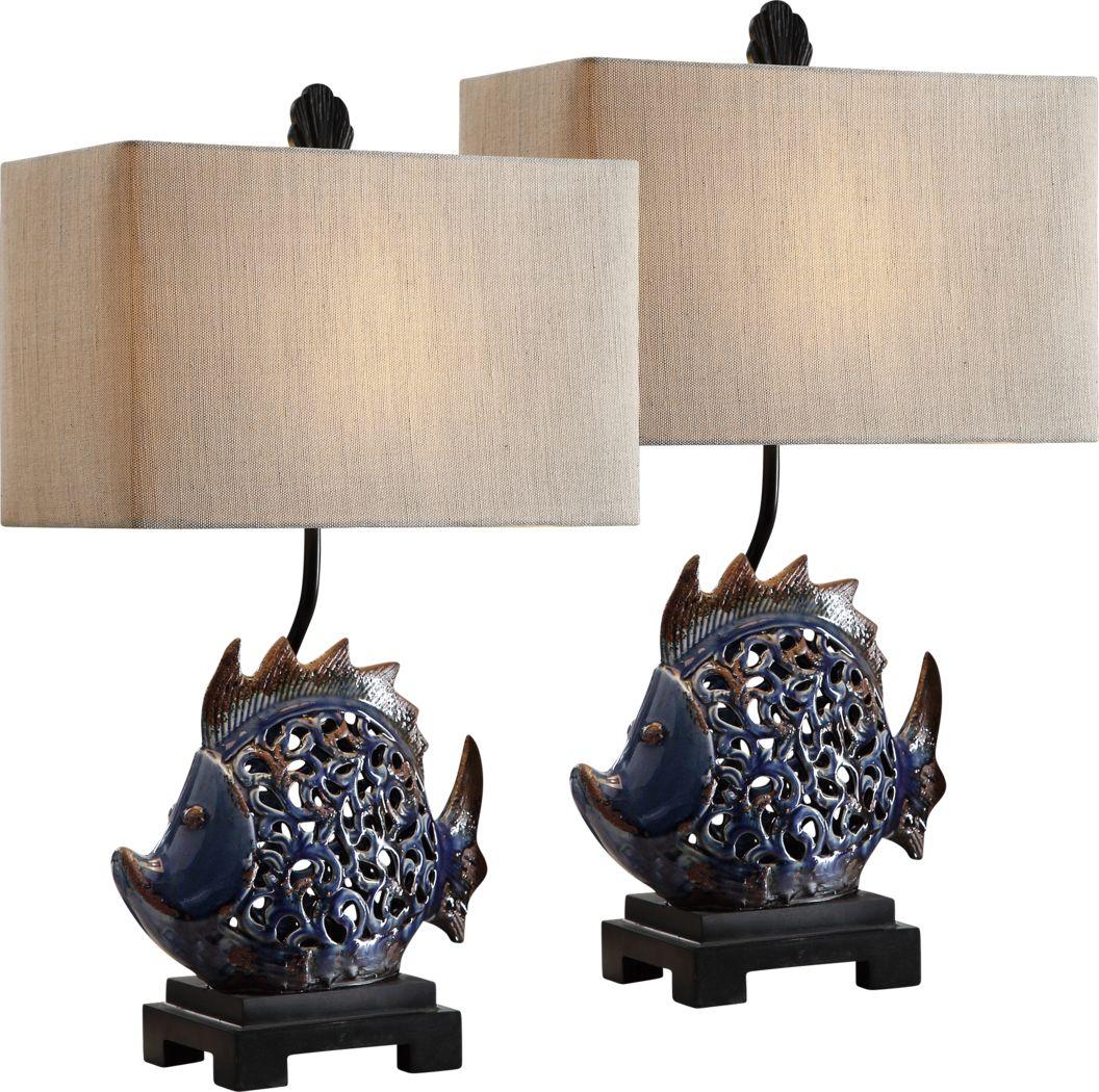 Seacombe Blue Lamp, Set of 2