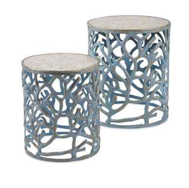 Seaforth Blue Nesting Tables, Set of 2