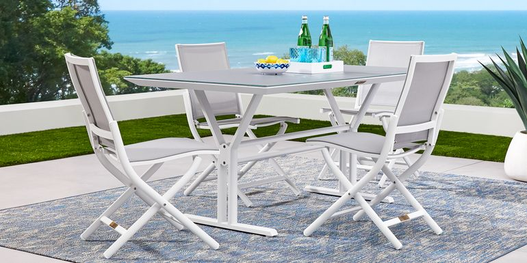 Seagate White 5 Pc Rectangle Outdoor Dining Set