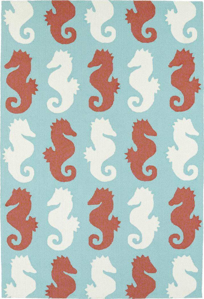 Seahorse Soiree Teal 7'6 x 9' Indoor/Outdoor Rug