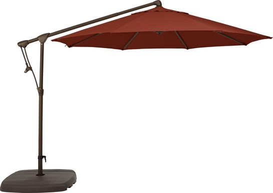 Seaport 10' Octagon Terracotta Outdoor Cantilever Umbrella with Base and Stand