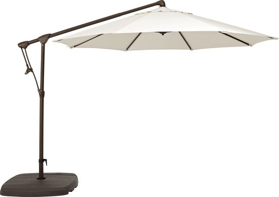 Seaport 10' Octagon Natural Outdoor Cantilever Umbrella with Base and Stand