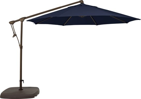 Seaport 10' Octagon Navy Outdoor Cantilever Umbrella with Base and Stand