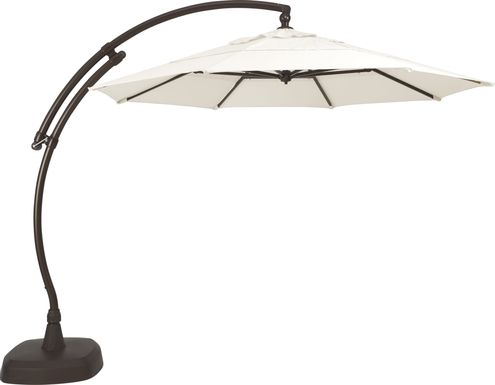 La Mesa Cove 11' Octagon Natural Outdoor Cantilever Umbrella with Base and Stand
