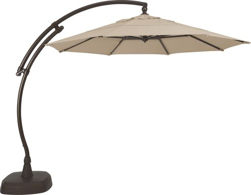 La Mesa Cove 11' Octagon Stone Outdoor Cantilever Umbrella with Base and Stand