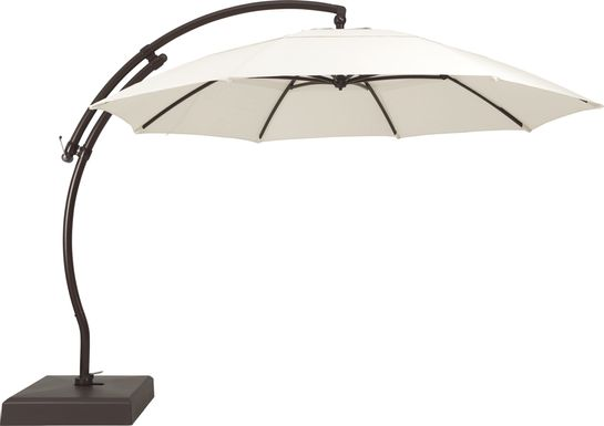La Mesa Cove 13' Natural Outdoor Curve Cantilever Umbrella with Base and Stand