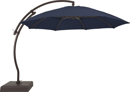 La Mesa Cove 13' Navy Outdoor Curve Cantilever Umbrella with Base and Stand