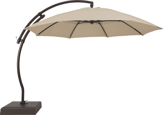 La Mesa Cove 13' Stone Outdoor Curve Cantilever Umbrella with Base and Stand