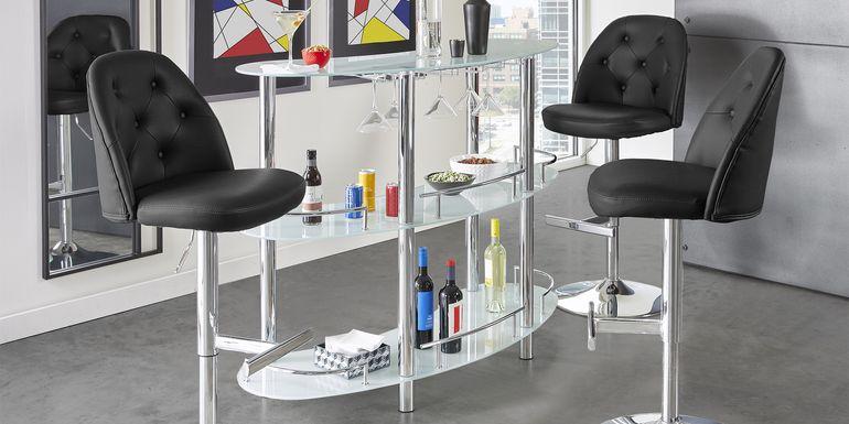 Searcy Platinum 3 Pc Bar Set with Black Stools