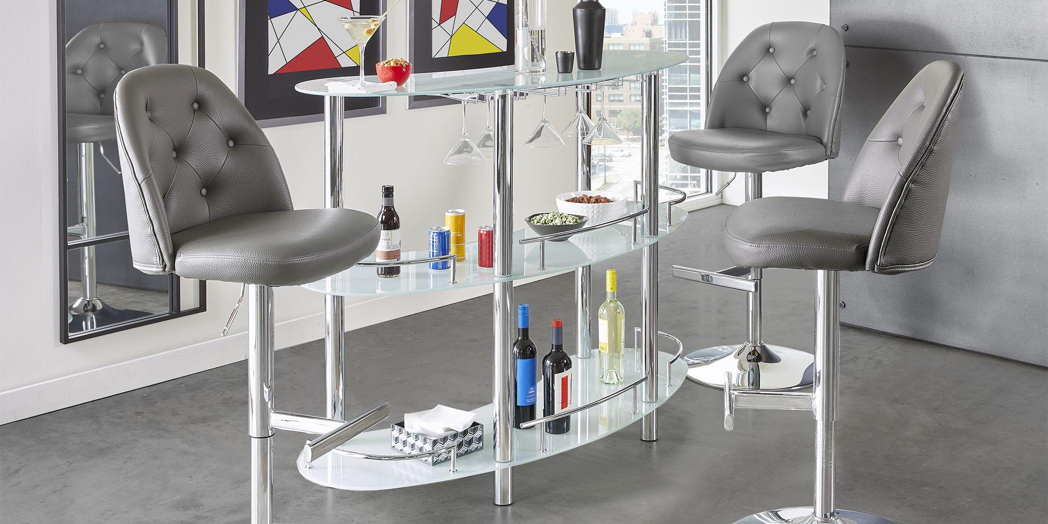 Searcy Platinum 3 Pc Bar Set with Gray Stools