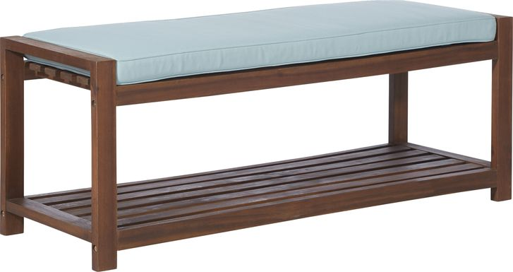 Sebbins Dark Brown/Blue Outdoor Dining Bench