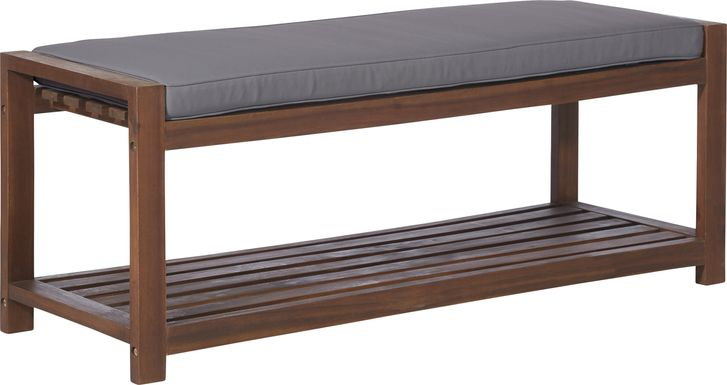 Sebbins Dark Brown/Gray Outdoor Dining Bench