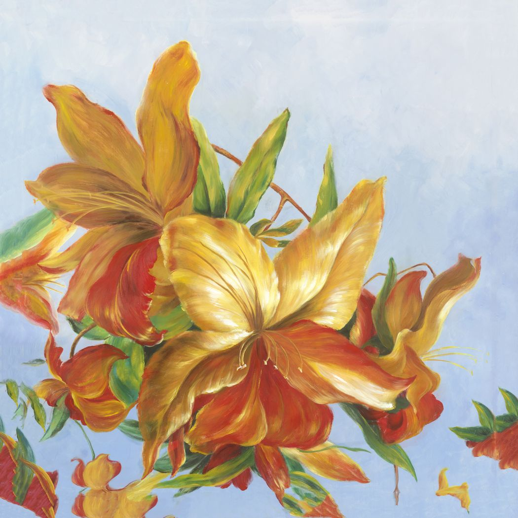 Shades of Orange 5' Square Canvas Artwork