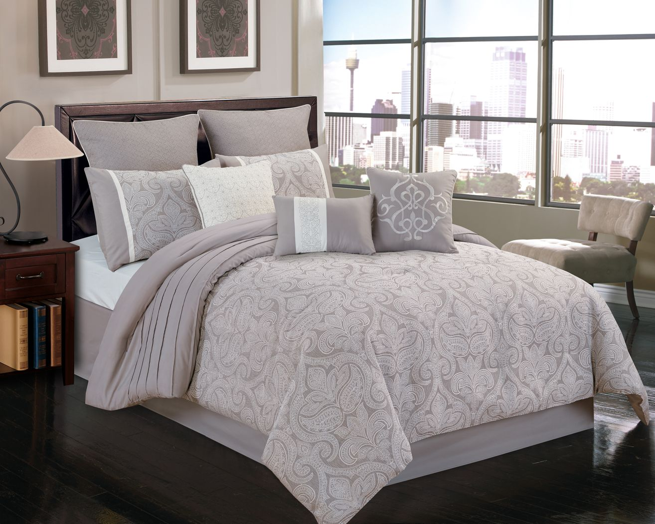 Shaila Gray 10 Pc King Comforter Set