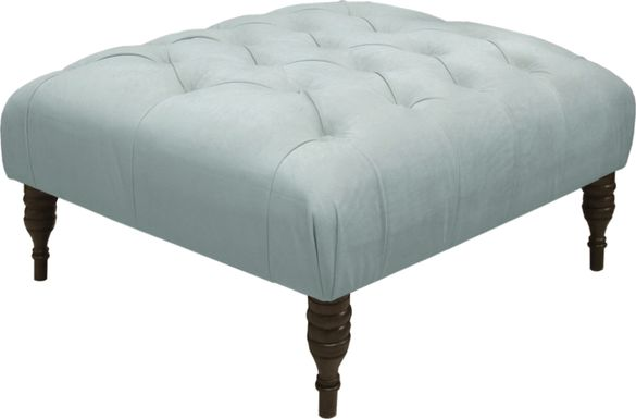 Shell Coast Blue Tufted Ottoman