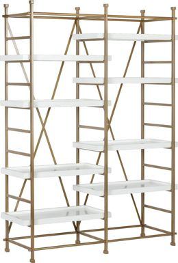 CosmoLiving Yves Metal Bookcase Etagere Gold and White