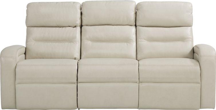 Sierra Madre Beige Leather Reclining Sofa