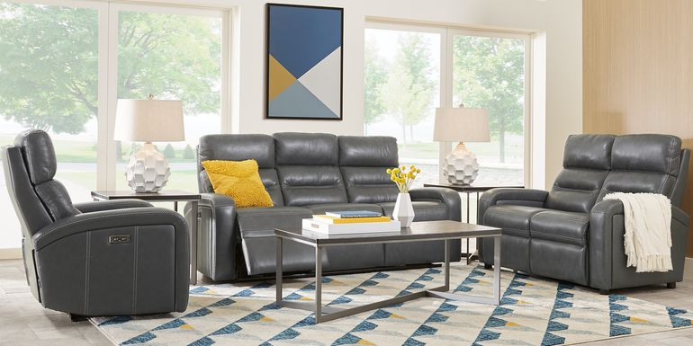 Sierra Madre Gray Leather 2 Pc Living Room with Reclining Sofa