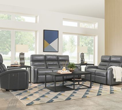 Sierra Madre Gray Leather 5 Pc Living Room with Reclining Sofa
