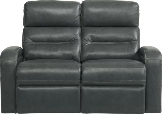Sierra Madre Gray Leather Dual Power Reclining Loveseat