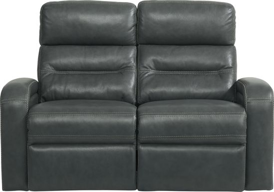 Sierra Madre Gray Leather Loveseat