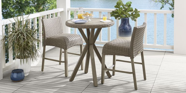 Siesta Key Driftwood 3 Pc 30 in. Round Balcony Outdoor Dining Set