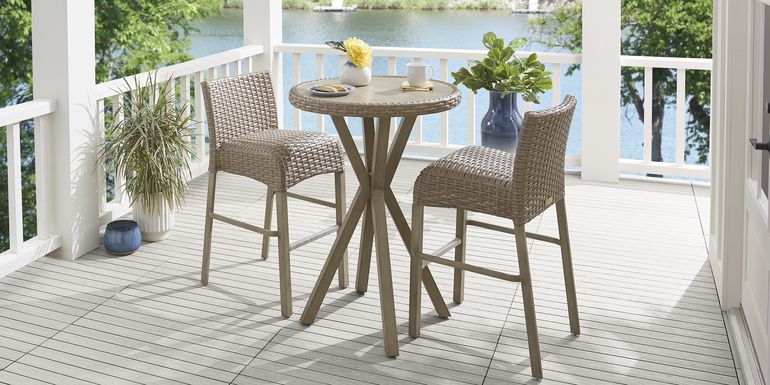 Siesta Key Driftwood 3 Pc 30 in. Round Bar Height Outdoor Dining Set