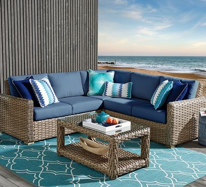 Siesta Key Driftwood 3 Pc Outdoor Sectional with Indigo Cushions