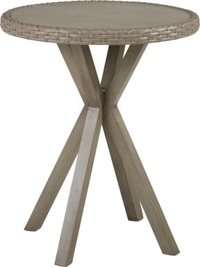 Siesta Key Driftwood 30 in. Round Outdoor Balcony Height Dining Table