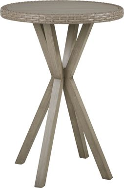 Siesta Key Driftwood 30 in. Round Outdoor Bar Height Dining Table