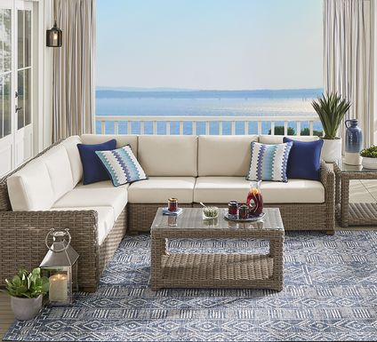 Siesta Key Driftwood 4 Pc Outdoor Sectional with Linen Cushions