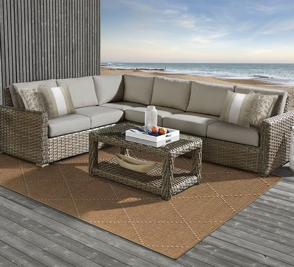 Siesta Key Driftwood 4 Pc Outdoor Sectional with Sand Cushions