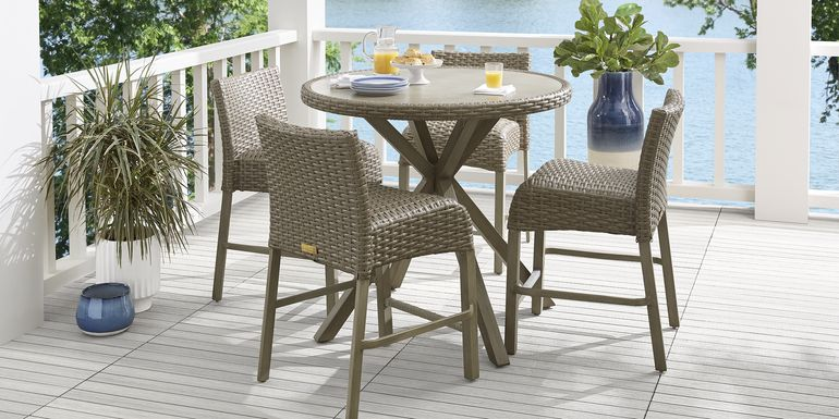 Siesta Key Driftwood 5 Pc 40 in. Round Balcony Outdoor Dining Set
