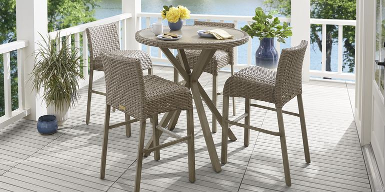 Siesta Key Driftwood 5 Pc 40 in. Round Bar Height Outdoor Dining Set
